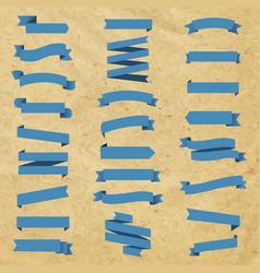 blue ribbon set in cardboard background vector image