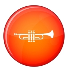 Brass trumpet icon flat style vector