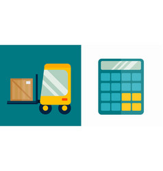 Business calculator and delivery transport vector