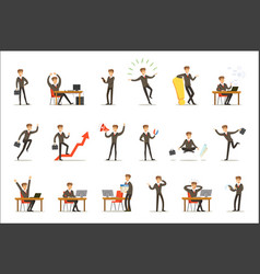 businessman work process set of business related vector image
