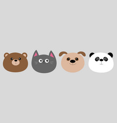 cartoon kawaii baby bear cat dog panda animal vector image