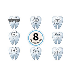 Cartoon tooth smiley satisfaction self-confidence vector