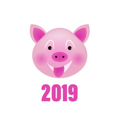 celebration white background with pig 2019 happy vector image
