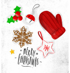 christmas elements glove vector image