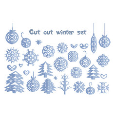 christmas handmade cut out collection vector image