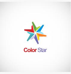 colorful star shape circle company logo vector image