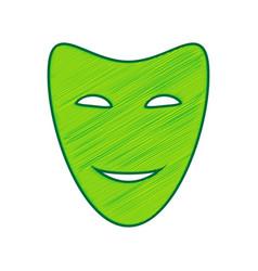 comedy theatrical masks lemon scribble vector image