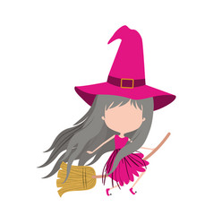 cute witch flying in broom and without face in vector image