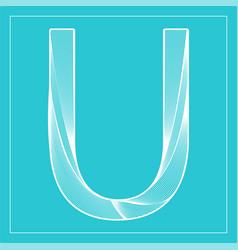 Decorative font stylized letter u vector