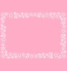 decorative frame of white outline flowers vector image