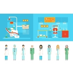 Dental office PC big set dentists vector