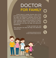 Doctor woman and cute family background poster vector