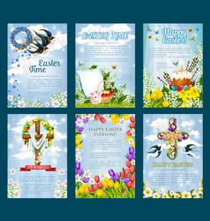 Easter egg hunt invitation flyer template set vector