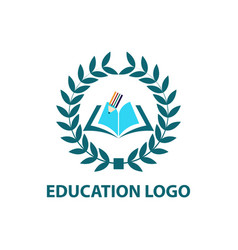 education logo with open book vector image