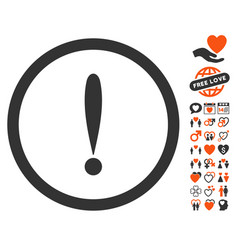 exclamation sign icon with love bonus vector image