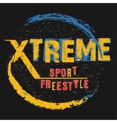 Extreme sport freestyle typography label vector