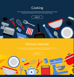 flat style kitchen utensils vector image