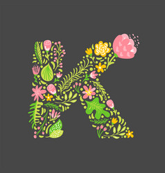floral summer letter k flower capital wedding vector image