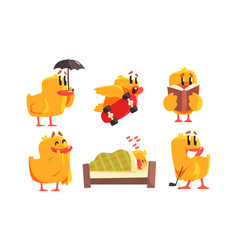 funny humanized chicken in various situations set vector image