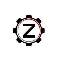 gear solution logo letter z vector image