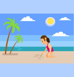 girl at beach drawing sailboat on sand near sea vector image