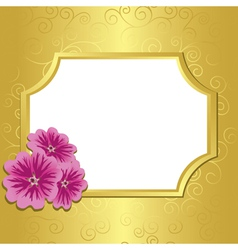golden frame with flowers malva vector image