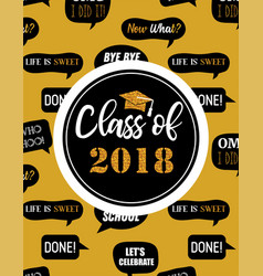 Graduation class of 2018 party invitation poster vector