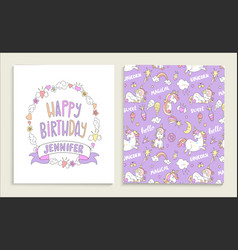 Greeting card for happy birthday with unicorns vector