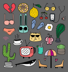 Hand drawn doodle lovely colourful set vector