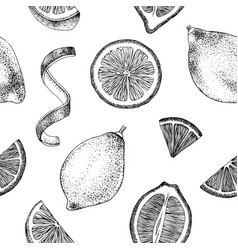 hand drawn seamless pattern with lemons vector image