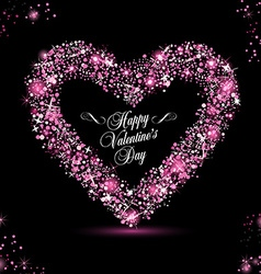Happy Valentine Day card with rose glitters vector