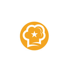 Hat chef with star logo template vector