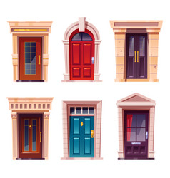 House front doors with stone frame vector
