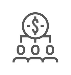 Human resource line icon investment management vector