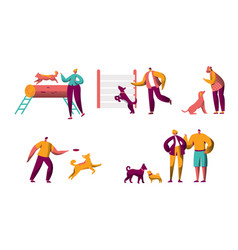 human traning dog outdoor spend time together set vector image