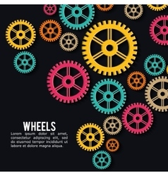 Industrial wheel design with colors background vector image