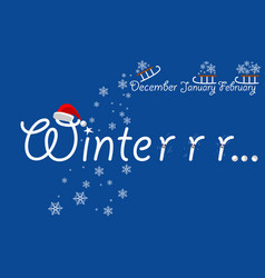 inscription winter on blue background vector image