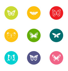 insects flying icons set flat style vector image
