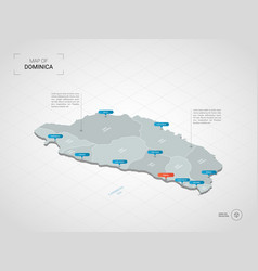isometric dominica map with city names and vector image