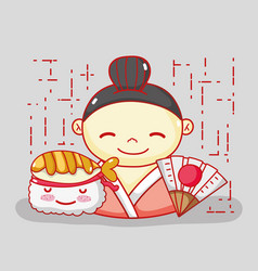 japanese in love with food vector image