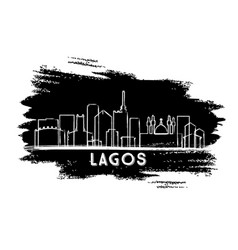 Lagos nigeria city skyline silhouette hand drawn vector