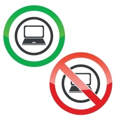 Laptop permission signs vector image