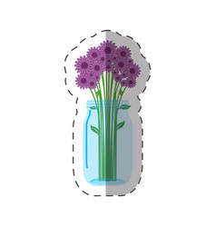 Lilac flowers vase decoration vector