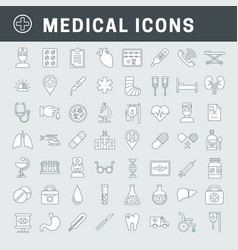 Linear medical icons with fill vector