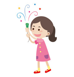 Little girl with party popper vector