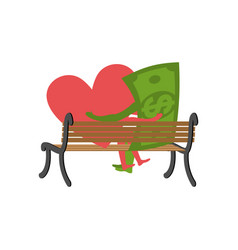 love and money sitting on bench selling love vector image