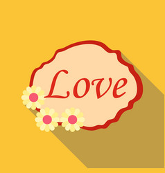 Love label icon flat style vector
