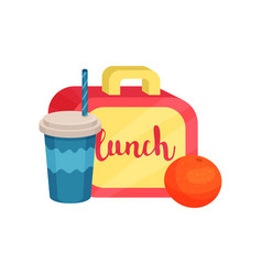 Lunch box juicy orange cocktail in plastic cup vector