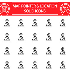 map pointer solid icon set gps and location vector image