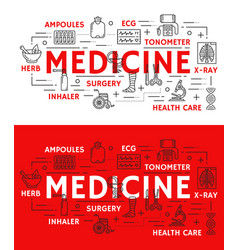Medical poster of thin line medicine symbol vector